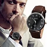 FD Luxury Fashion Faux Leather Mens Quartz Analog Watch Watches