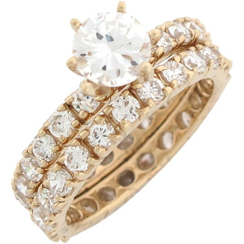 9ct Yellow Gold White CZ Divine Wedding Engagement Duo Rings Size 7