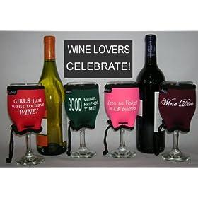 Wine Glass Koozie Sayings 4 Pack Insulators By Woozie