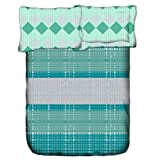 Weaves Pigment Print Saavi Cotton Double Bedsheet With 2 Pillow Covers - Aqua Blue (WSAV-012A)
