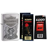 Zippo 200HDH284 Harley Davidson Eagle Brushed Chrome Windproof Lighter with Two Flint Card and One Wick Card