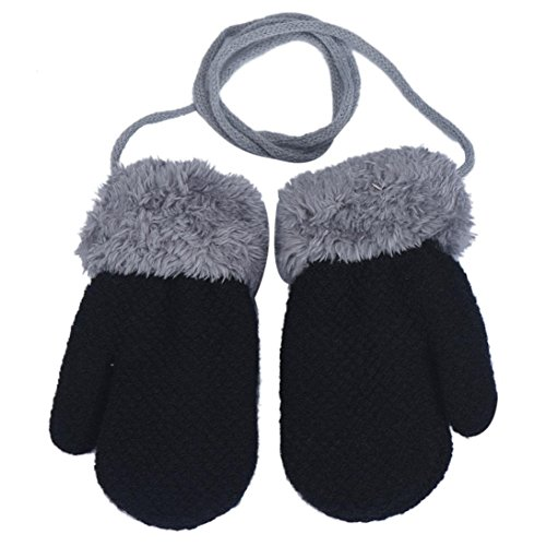 DZT1968 1 Pair Winter Baby Cute Thick Gloves Mittens With String (0-12 Months) (Black)