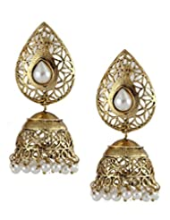 The Jewelbox Gold Plated Pearl Filigree Jhumki Earring
