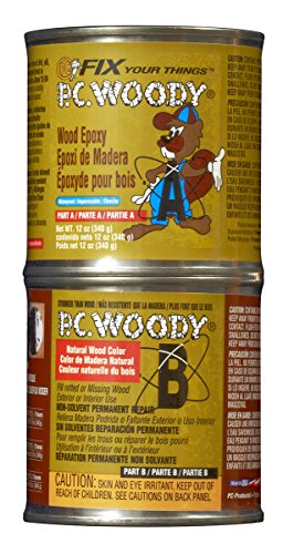 PC Products PC-Woody Two-Part Wood Repair Epoxy Paste, 12 oz in Two Cans, Tan