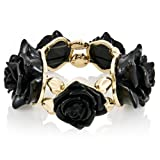 Denise's Bold Flower Stretch Bracelet - Black