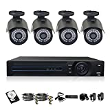 TMEZON 4-channel AHD 720P Realtime HDMI Hybrid DVR Bullet 1.0MP 1200TVL Camera 36IR LEDs IR CUT Indoor/Outdoor