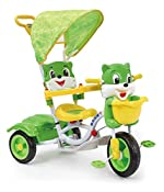 Toy House Toyhouse Easy to Steer Cat Baby Tricycle Heavy Duty with Canopy and Push Handle Steering system Green
