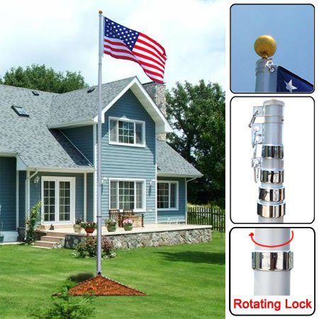 20Ft Telescopic Aluminum Flagpole Us American Flag Gold Ball Outdoor Kit Gift
