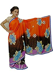 Aradhya Women's Saffron and Brown Synthetic Designer Saree with Blouse Piece