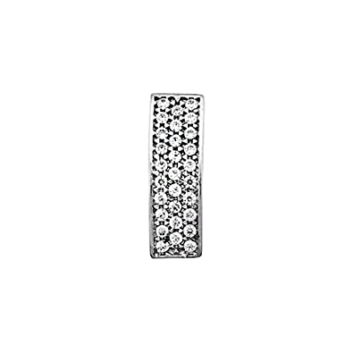 18k white gold pendant elongated zircons [AA4763]