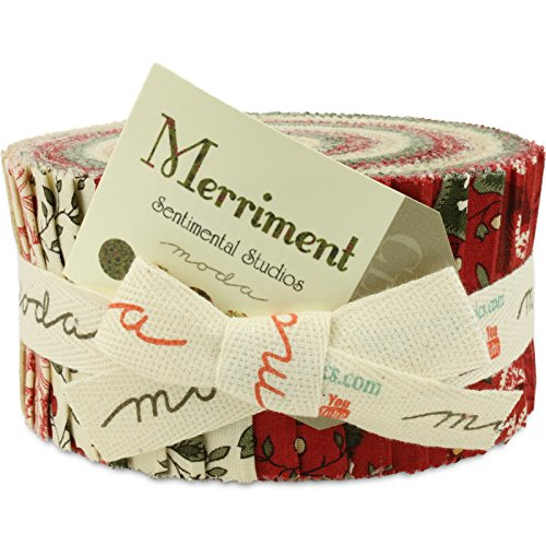 Moda Merriment Jelly Roll, Set of 40 2.5x44-inch (6.4x112cm) Precut Cotton Fabric Strips
