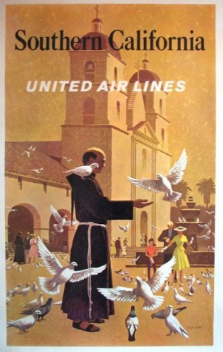 1950's Original Southern California United Airlines Vintage Travel Advertising Poster by Stan Galli