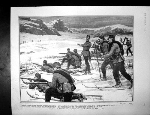Stampa Antica della Manifestazione Austriaca 1902 del Soc dello Shire delle Alpi delle Scarpe della Neve delle Truppe