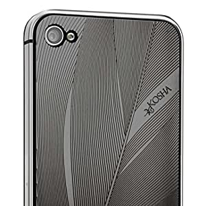 iPhone 4, 4s cover, skin, case. Black plastic bumper + KOSHA engraved metal plate - Feather design in Black Gold layered steel - swiss made - gift idea for women and men - iPhone not included