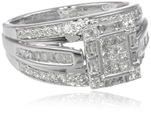 10k White Gold Diamond Ring (1 cttw, I-J Color, I2-I3 Clarity), Size 8