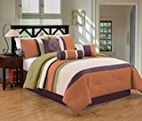 Modern 7 Piece Bedding Sage Green / Orange / Purple / White Pin Tuck / Embroidered King Comforter Set with accent pillows