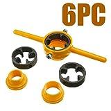 nago0 Thread Maker Tools - 6pcs Die Set Screw Pipe Threader PVC Thread Tool Maker 1/2 3/4 1 Inch (Color: Yellow, Tamaño: free size)