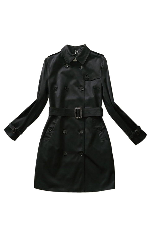 Voguees Damen Lange Ärmel Zweireihige Jacke Mantel Windbreaker mit Guertel günstig kaufen