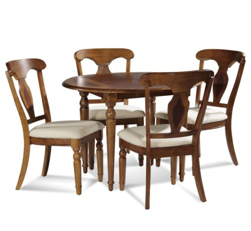 Buy Low Price Bassett Mirror Company 5-pc Charles X Round Drop Leaf Dining Table Set by Bassett Mirror Company – Mahogany (8048-706-SET) (8048-706-SET)