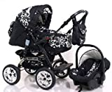 ADBOR Combo Pram Baby Lux + Car Seat No.26 black / flower