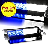 DIYAH 8 LED Warning Caution Car Van Truck Emergency Strobe Light Lamp For Interior Roof Dash Windshield (Blue and White)