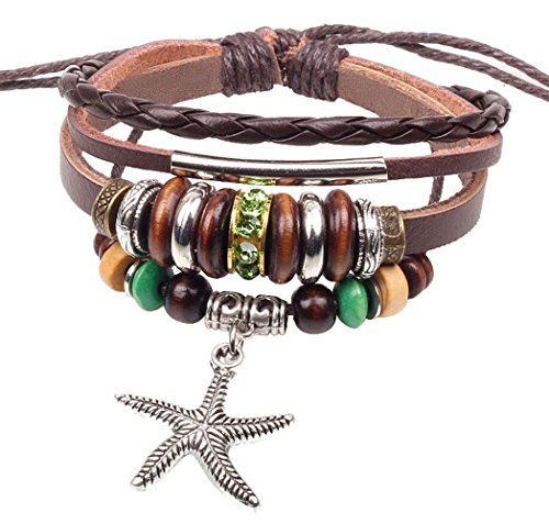 Most Beloved Starfish Beaded Leather Braided Zen Bracelet Nautical Jewelry Adjustable Wristband