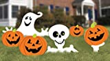 "Amscan Family Friendly Skeleton and Ghost Corrugate Yard Stake Signs (6 Piece), White/Orange, 20"" x 16 3/4"""
