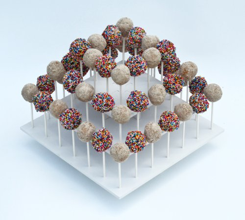 Attractive Square White 3-tier Stand Holds up to 52 Cake Pops or Lollipops. Its Ideal for Parties and Festive Get-togethers.