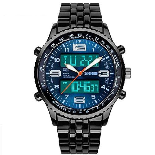 SunJas Orologio da Polso da Uomo Blu Acciaio Inossidabile Impermeabile Cronometro Nottilucenti