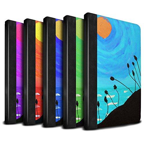 STUFF4 PU Pelle Custodia/Cover/Caso Libro per Apple iPad Mini 4 tablet / Pack 8pcs / Tramonto Pittura a Olio disegno