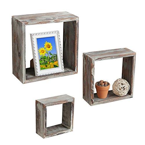 save 33 set of 3 brown torched wood finish wall. Black Bedroom Furniture Sets. Home Design Ideas