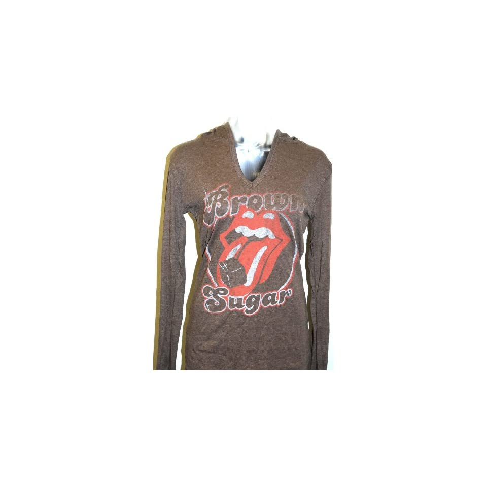 Rolling Stones Lips Logo Brown Sugar Womens Brown Vintage Hooded T shirt by Junk Food Clothing