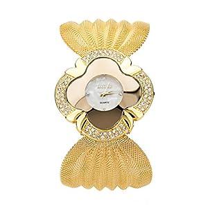 Tauren Women's Diamond Metal Mesh Belt Bracelet Crystal Quartz Wrist Alloy Fashion Belt Watches(gold)