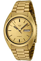 Seiko Men's SNXL72 Seiko 5 Automatic Gold Dial Gold-Tone Stainless Steel Watch
