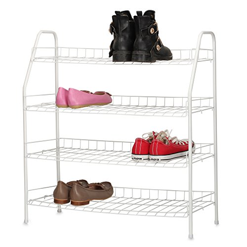 HOUSE DAY Shoe Racks - 4 Tier White Shoe Organizers Space Saving Shoe Tower Storage Cabinet - Composite Utility Shoe Racks (Utility Shoe Rack compare prices)