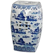Big Sale Oriental Furniture Distinctive Oriental Accessories, 18-Inch Blue and White Chinese Porcelain Garden Stool, Square with Landscape Design