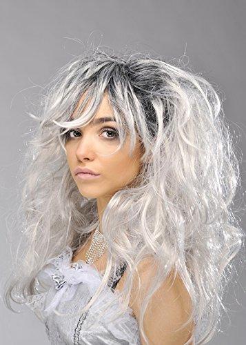 Womens Long Grey Gothic Ghost Bride Wig (Womens Ghostly Wig)