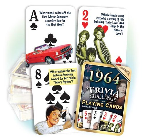 1964 Flickback Trivia Playing Cards 50th Birthday or 50th Anniversary Gift