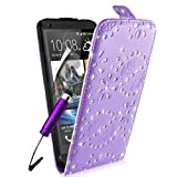 SUPERGETS® HTC One M7 Premium Diamond Design Top Flip Case Cover, Screen Protector and Polishing Cloth + High Capacitive Touch Screen Stylus - Purple