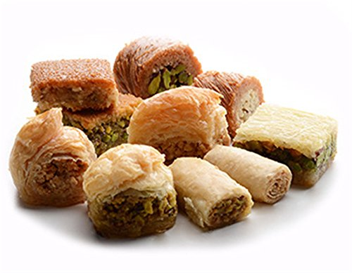 BAKLAVA SWEET CAKES GOURMET GIFT Box (10 Oz) : 12 pcs small cut, 6 different Baklava Pastry Varieties -MOST PRESTIGIOUS ORIGINAL BAKLAVA SWEETS ASSORTMENT -Gift box: Cashew & Pine, Pistachio (10 Oz)