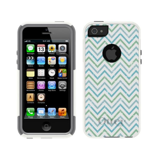 Best Price iPhone 5 5S White Otterbox Commuter Series Chevron Lime Green & Teal