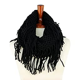 Basico Women Winter Warm Knit Infinity Scarf Tassels Soft Shawl ** Various Colors ** (Black)