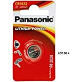 Panasonic CR1632 1632 3V Lithium Battery Pack of 4 Battery