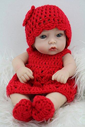 Nicery Rinato Bambino Bambola Vinile dura del Simulazione Silicone 11 pollici 28cm Realistico Impermeabile Bambina Giocattolo Ragazzo Ragazza Cappellino da Red