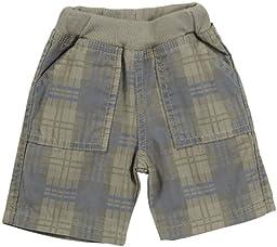 Charlie Rocket Twill Plaid Shorts (Baby) - Sand-3-6 Months
