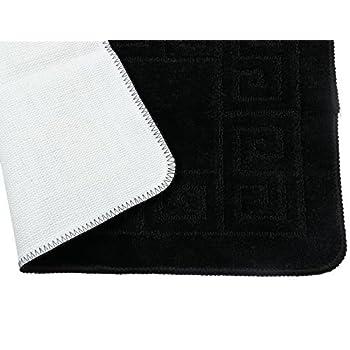 """Pauwer 3 Piece Bath Rug Set Pattern Bathroom Rug 28.4""""x17.7""""/Contour Mat 17.7""""x17.7""""/ Lid Cover (Black)"""