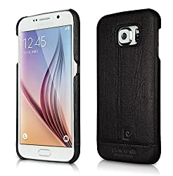 Pierre Cardin Luxury Leather Back Case Cover for Samsung Galaxy S6 Edge + (Plus) - Black