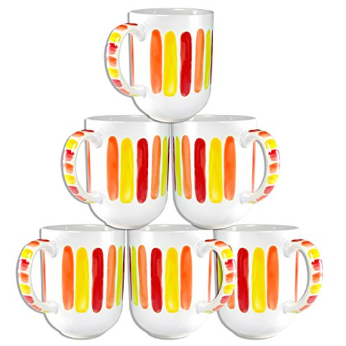 Francois Et Mimi Set Of 6 Large-Sized 18Oz Handpainted Artisan Coffee Mugs (Citrus)