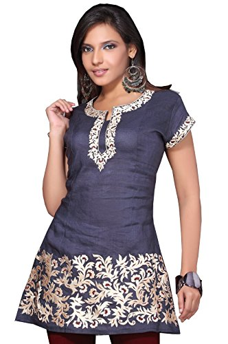 White-Thread-Embroidered-Women-Cotton-Tunic-Top