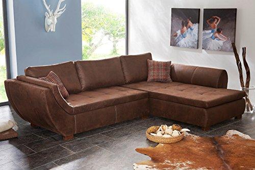 Exklusive-Wohnlandschaft-RANCHO-braun-Antik-Ecksofa-Couch